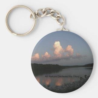 Lake Scene With Scripture Basic Round Button Keychain