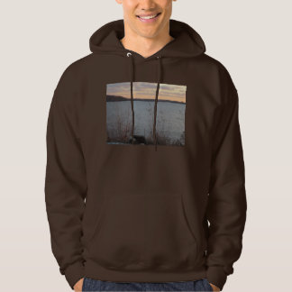 Lake Shore Sunset Mens Hooded Sweatshirt