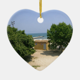 Lake Shores Getaway! Double-Sided Heart Ceramic Christmas Ornament