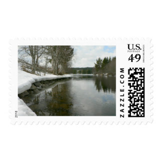 Lake Side In Winter Stamp