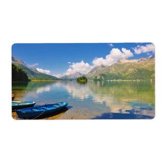 Lake Sils, in Graubünden, Swizerland Label
