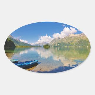 Lake Sils, in Graubünden, Swizerland Oval Sticker
