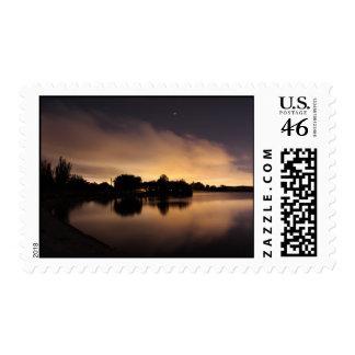 Lake Skyline at Night 1 Postage Stamps