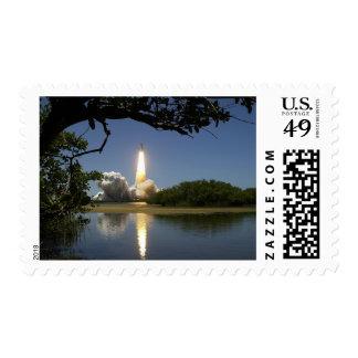 Lake Space Ship Rocket Liftoff Blast Stamp