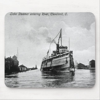 Lake Steamer entering River, Cleveland, Ohio Mouse Pad