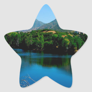 Lake Still And Blue Star Sticker