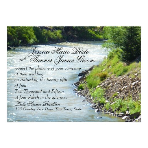 Lake Stream Nature Photography Wedding Personalized Announcements