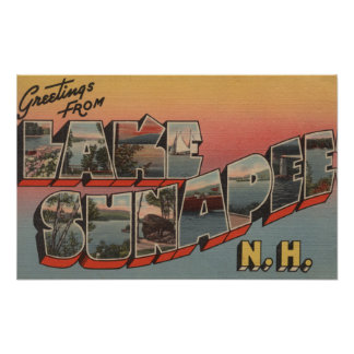 Lake Sunapee, New Hampshire - Large Letter Poster