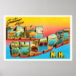Lake Sunapee New Hampshire NH Old Travel Souvenir Poster