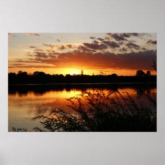 Lake Sunset Landscape Photo Nature Wall Poster