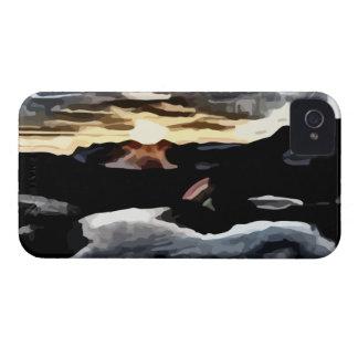 lake sunset painting blackberry cases