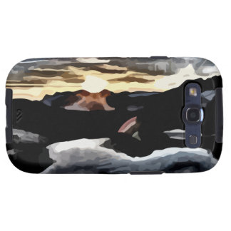 lake sunset painting galaxy SIII cover