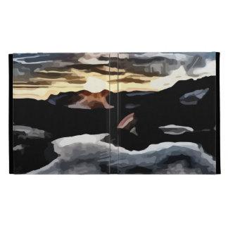 lake sunset painting iPad folio case