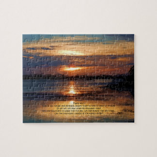 Lake Sunset Painting Psalm 46:1-3 Bible Verse Jigsaw Puzzle