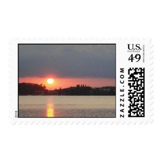 Lake Sunset Postage Stamp