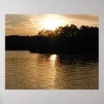 Lake Sunset Sepia Fishing Gifts Fisherman Dad Art Poster