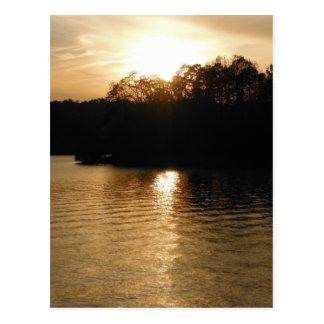 Lake Sunset Sepia Fishing Gifts Fisherman Dad Postcard