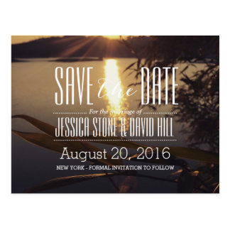 Lake Sunset Wedding Save the Date Postcard