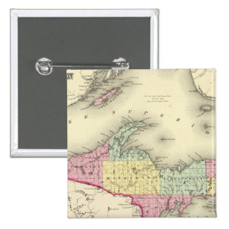 Lake Superior And The Northern Part Of Michigan 2 Inch Square Button