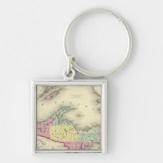 Lake Superior And The Northern Part Of Michigan Silver-Colored Square Keychain