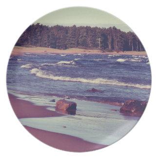 Lake Superior Beach Waves Dinner Plate