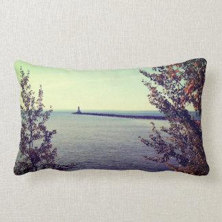 Lake Superior Break Wall Throw Pillow