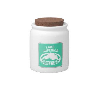 Lake Superior Circle Tour, Traffic Sign, USA Candy Jar