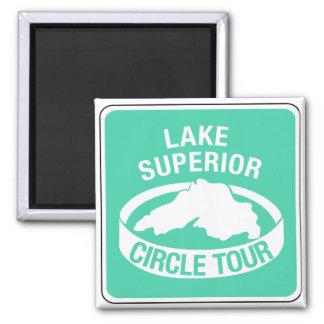 Lake Superior Circle Tour, Traffic Sign, USA 2 Inch Square Magnet