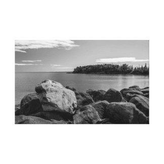 Lake Superior Coastline B&W Canvas Print