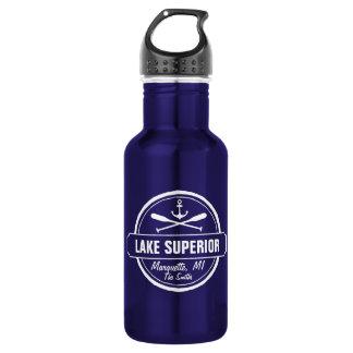 Lake Superior, custom town, name, anchor, paddles 18oz Water Bottle