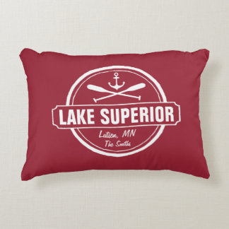 Lake Superior, custom town, name, anchor, paddles Accent Pillow