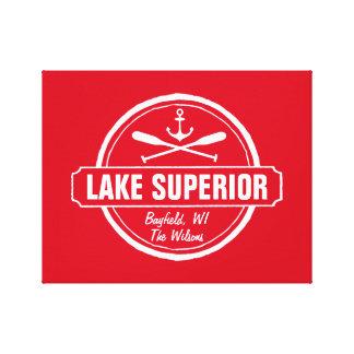 Lake Superior, custom town, name, anchor, paddles Canvas Print