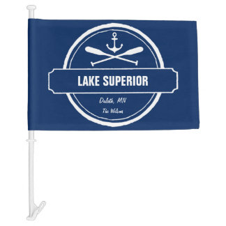 Lake Superior, custom town, name, anchor, paddles Car Flag