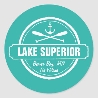 Lake Superior, custom town, name, anchor, paddles Classic Round Sticker