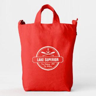 Lake Superior, custom town, name, anchor, paddles Duck Bag