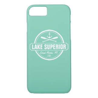 Lake Superior, custom town, name, anchor, paddles iPhone 7 Case