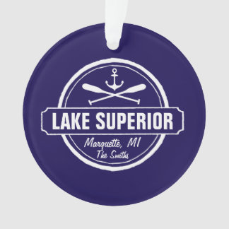 Lake Superior, custom town, name, anchor, paddles Ornament