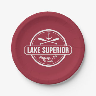 Lake Superior, custom town, name, anchor, paddles Paper Plate