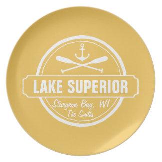 Lake Superior, custom town, name, anchor, paddles Plate