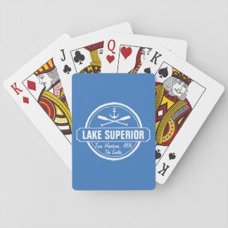 Lake Superior, custom town, name, anchor, paddles Playing Cards