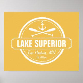 Lake Superior, custom town, name, anchor, paddles Poster
