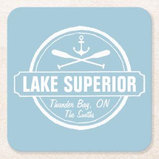 Lake Superior, custom town, name, anchor, paddles Square Paper Coaster
