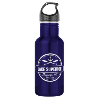 Lake Superior, custom town, name, anchor, paddles Water Bottle