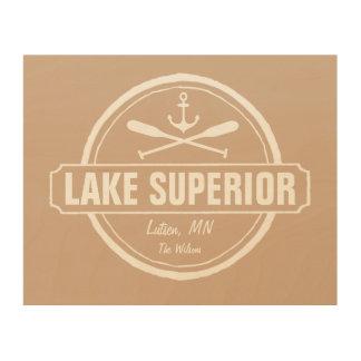 Lake Superior, custom town, name, anchor, paddles Wood Wall Art