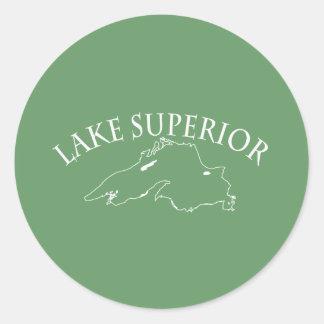 Lake Superior Map Classic Round Sticker