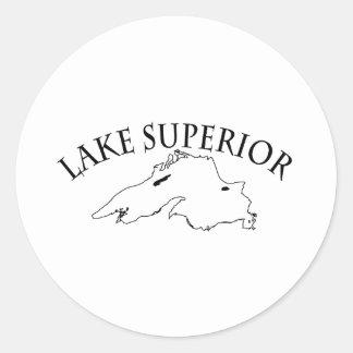 Lake Superior Map Round Stickers