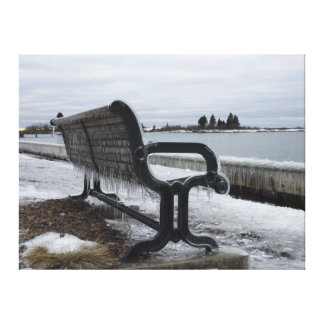 Lake Superior Park Bench in Winter Canvas Print