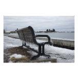 Lake Superior Park Bench in Winter Photo Art