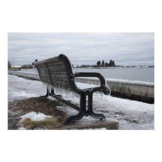 Lake Superior Park Bench in Winter Photo Print