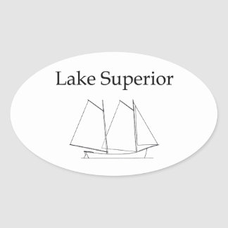 Lake Superior Sailboat Oval Stickers